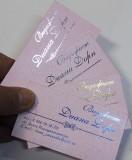 Визитки фольгированные на розовой бумаге